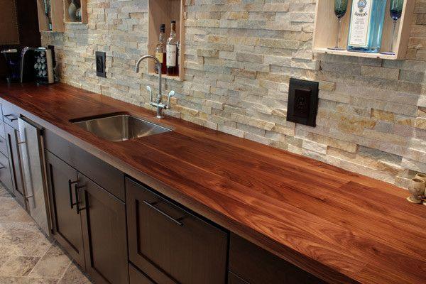 idéer till köksbänkar av keramiska plattor |  Trä bänkskivor kök.