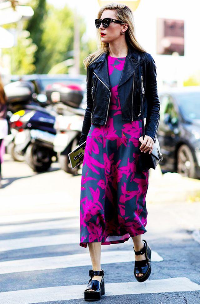 svart lädermotojacka rosa