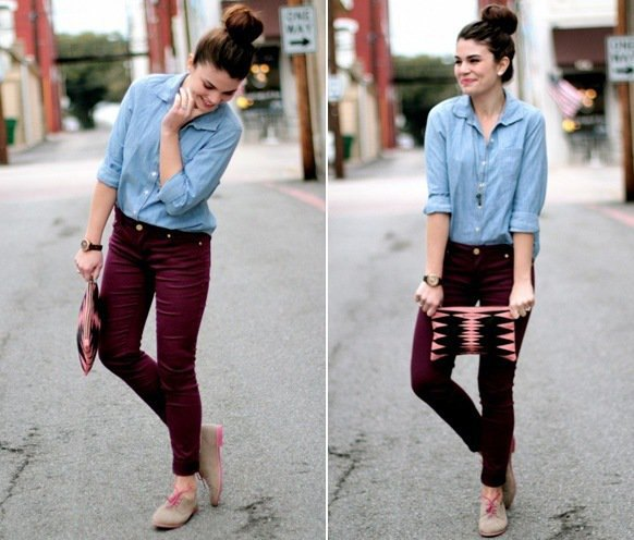 Chambray Button Up Shirt Burgundy Skinny Jeans