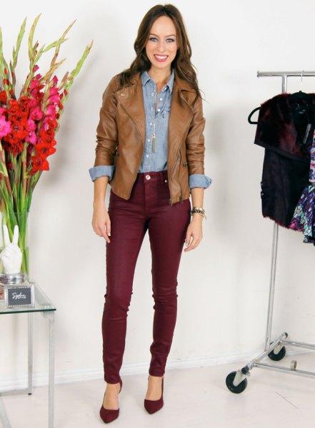Chambray skjorta brun läderjacka