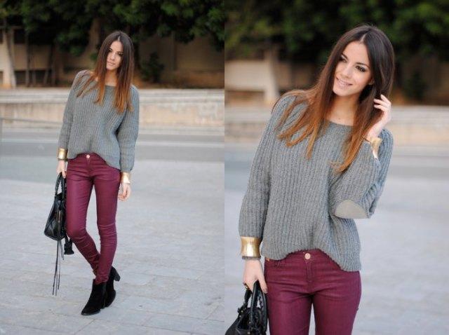 Burgundy skinny jeans grå stickad tröja med båthalsringning