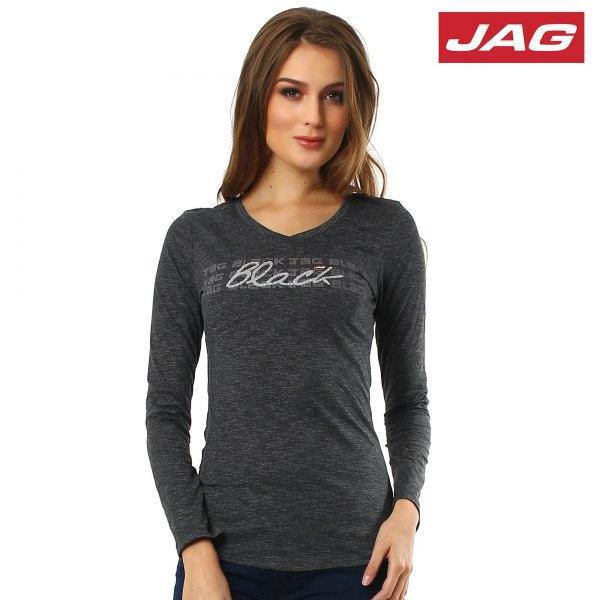 grå, figur-kramande långärmad T-shirt med svarta jeans