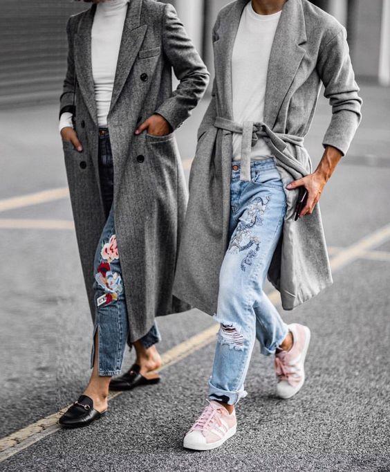 broderad jeansgrå kappa