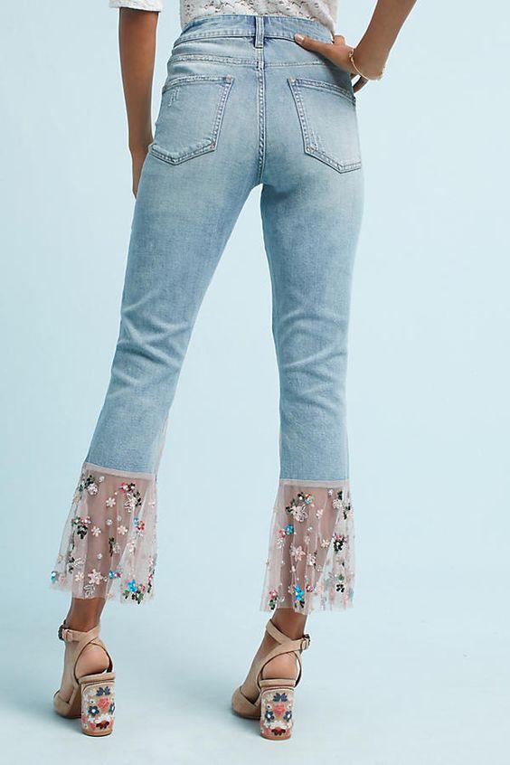 broderad jeans tyll fåll