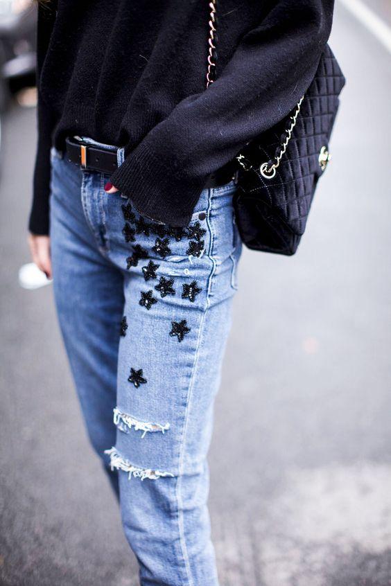 broderade jeans blå stjärnor