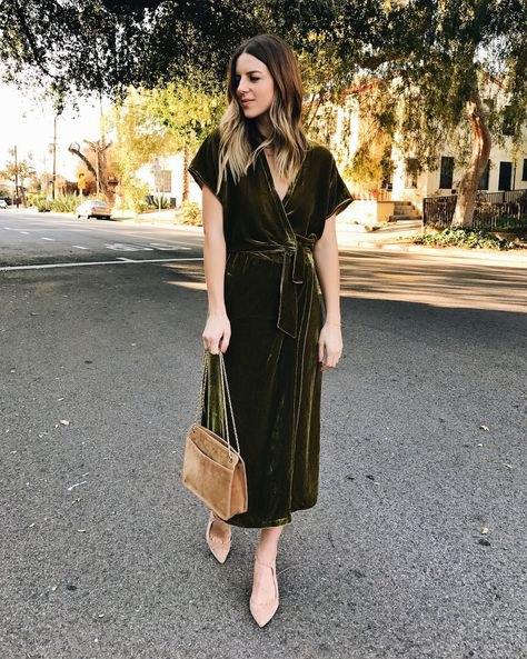 Burgundy Maxi Tied Midja Kortärmad Velvet Wrap Dress