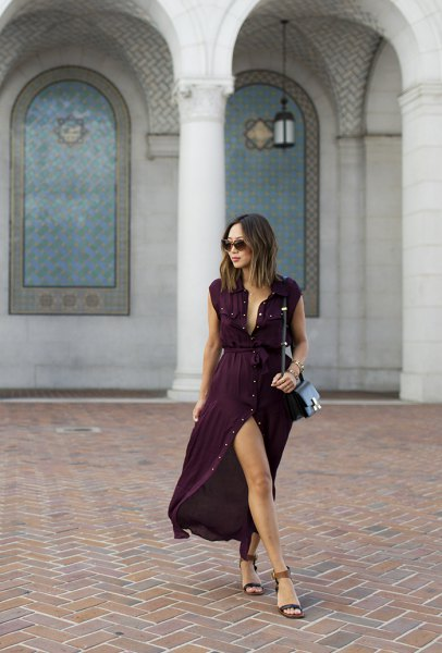 hög split klänning med svart bälte