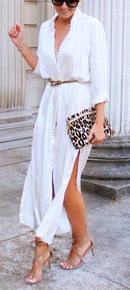 vit långärmad dubbelsidig skjortklänning med slits