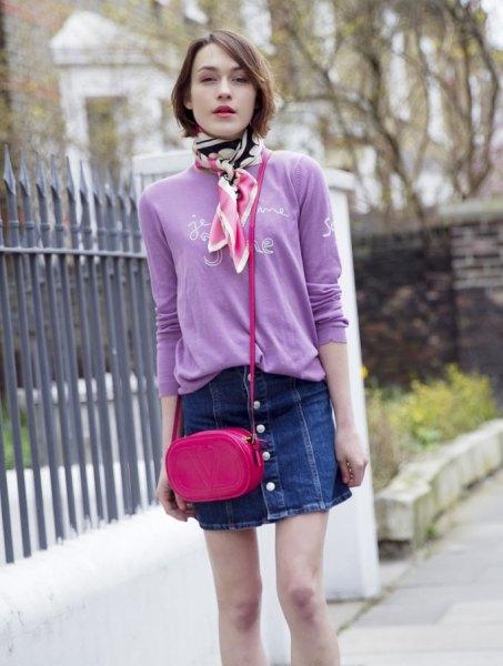 svart och rosa siden kjol med smal denim mini kjol