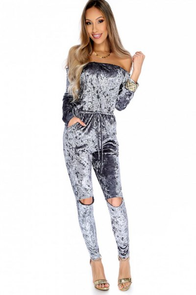 grå sammet stropplös jumpsuit