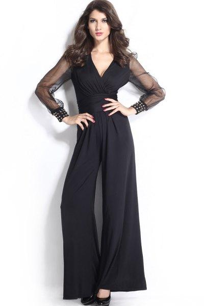 svarta jumpsuit mesh ärmar med breda ben