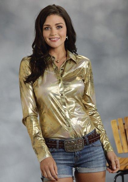 Guld metallic beskuren blus med svart läder damask