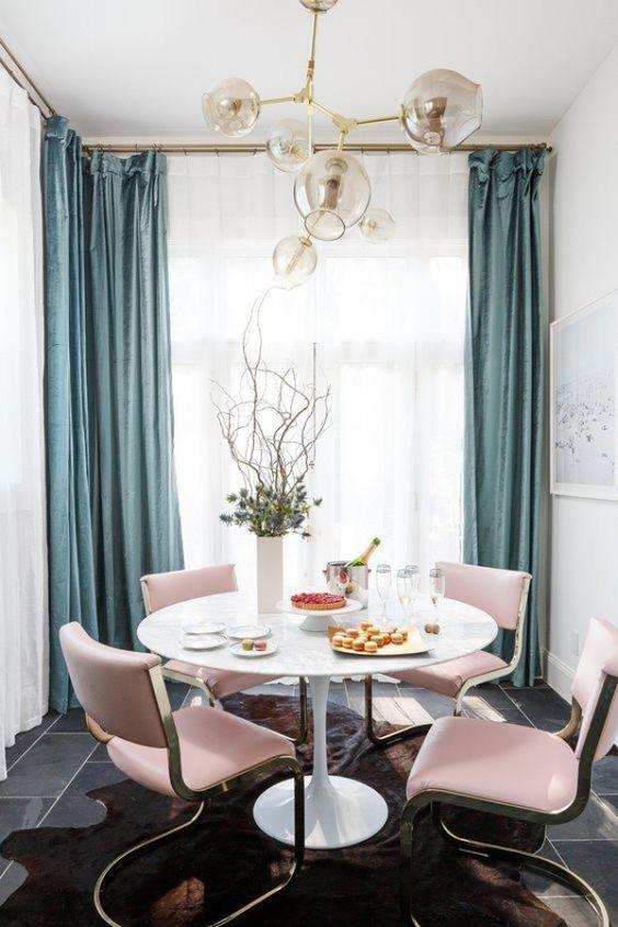 27 trendiga idéer för att lägga rosa till din interiör    Rosa matsalar.