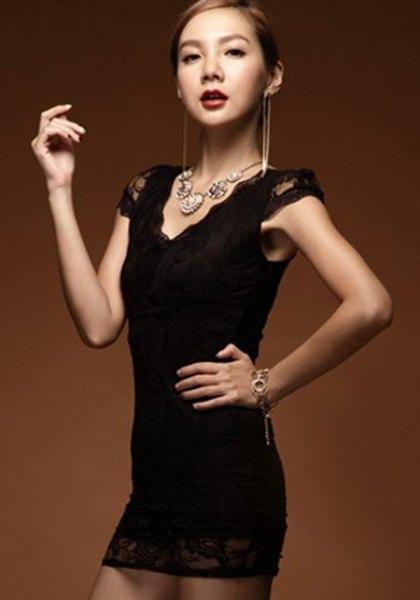 svart keps ärm v-ringad super mini bodycon spets klänning