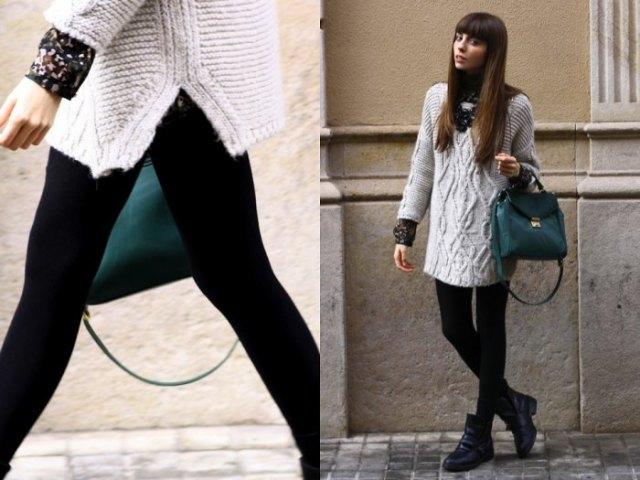 grå tunika tröja med halsringning, leggings och svart läder handväska