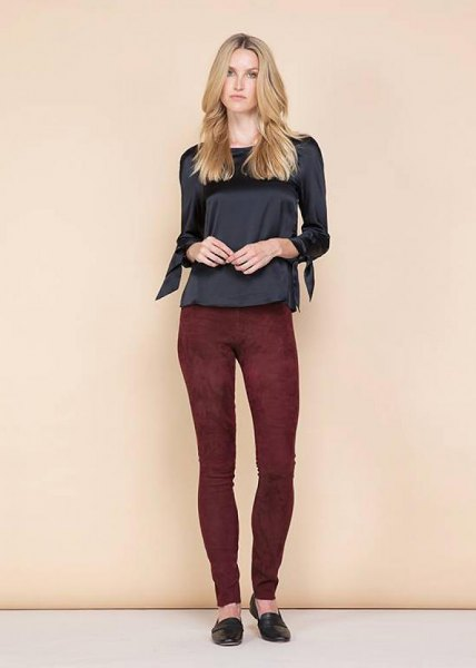 svart burgundy mocka leggings
