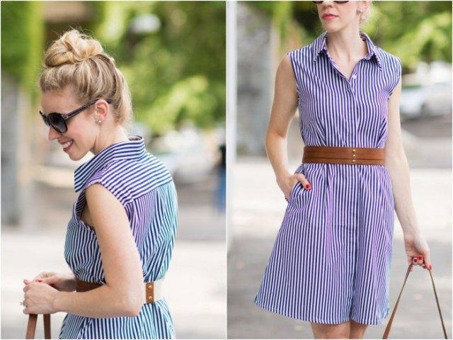 Mörkblå och vit ärmlös miniklänning med bälte