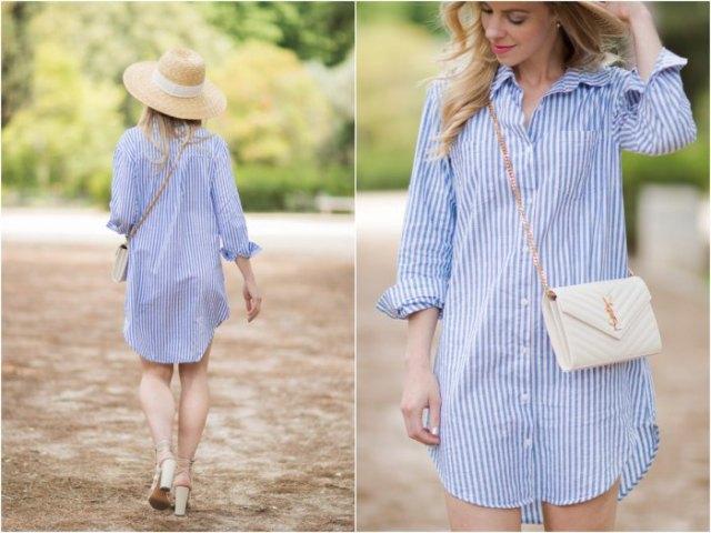 Himmelblå och vit vertikal randig skjortklänning med stråhatt