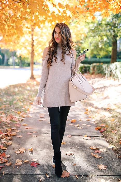 Kall axel tröja klänning läder leggings