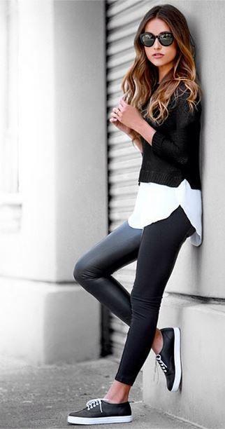 beskuren tröja vit skjorta läder leggings