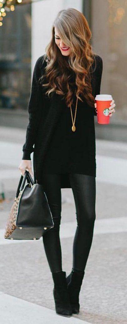 alla svart klänning läder leggings stövlar