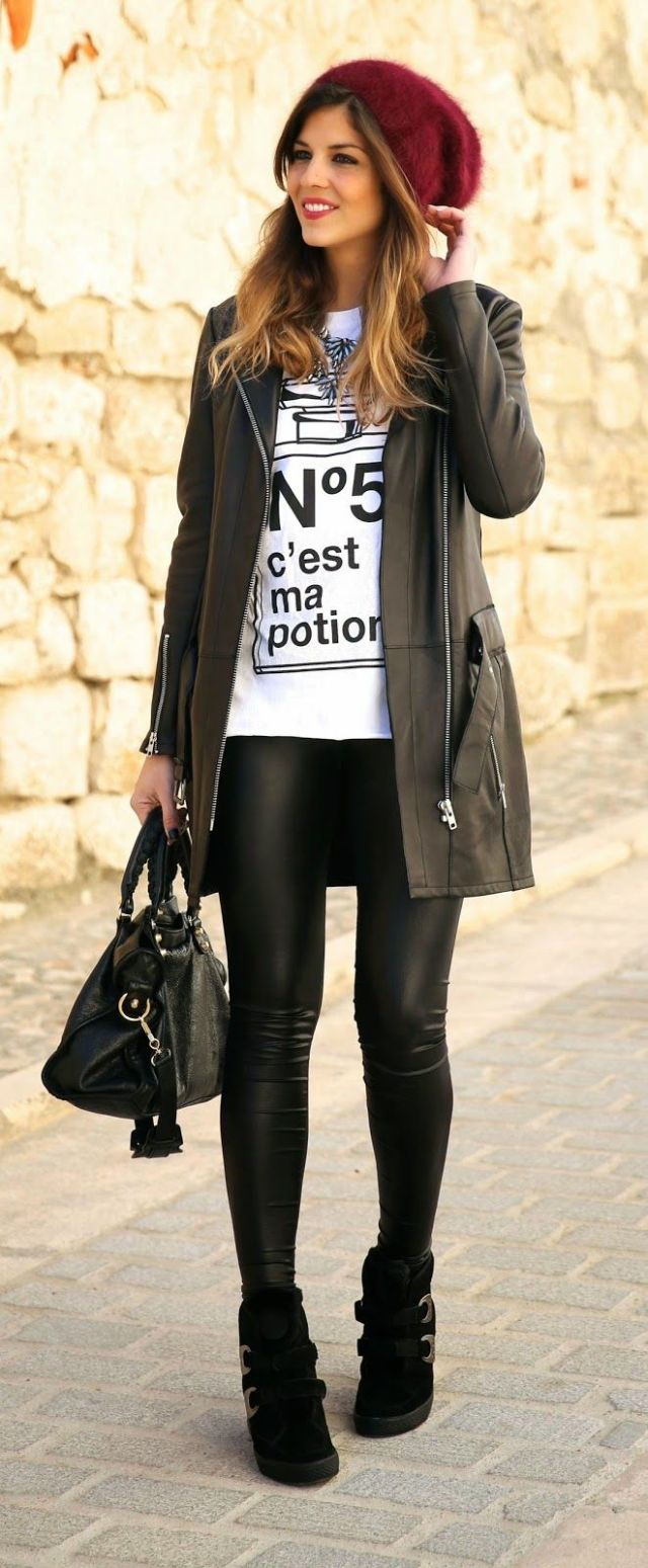 Långjacka t-shirt läder leggings