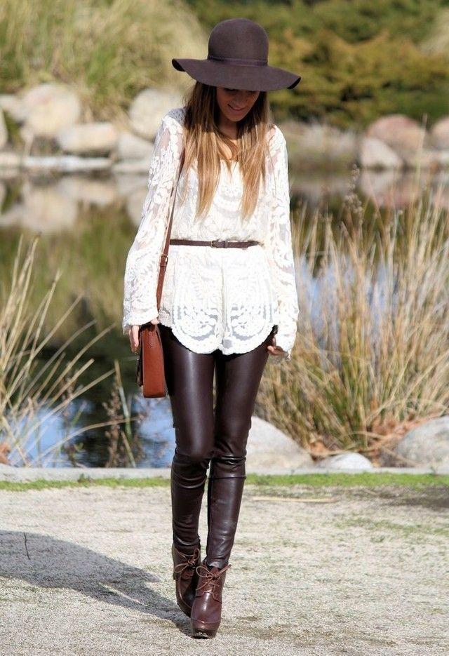 vit boho topp läder leggings outfit