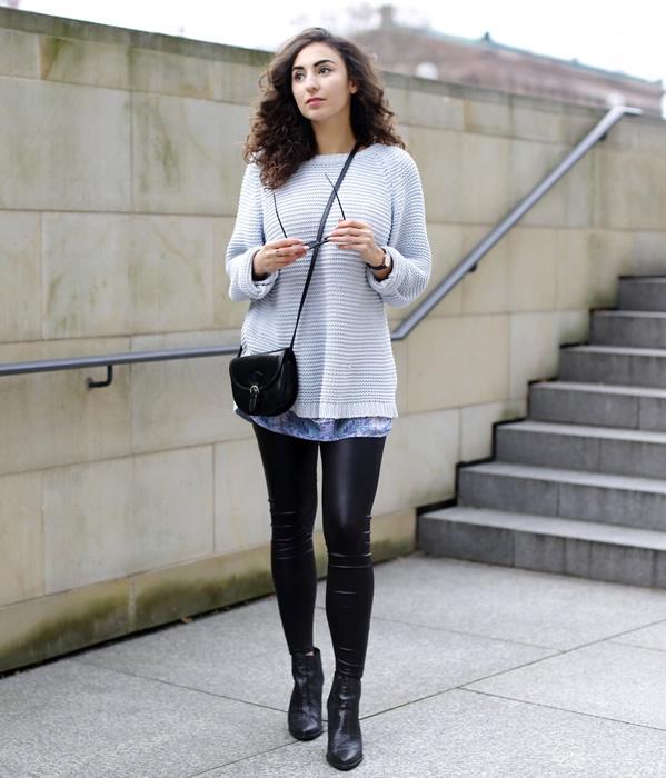 T-shirt klänning bekväm tröja läder leggings