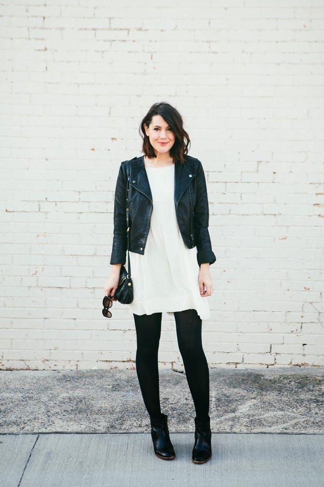Jacka vit klänning läder leggings