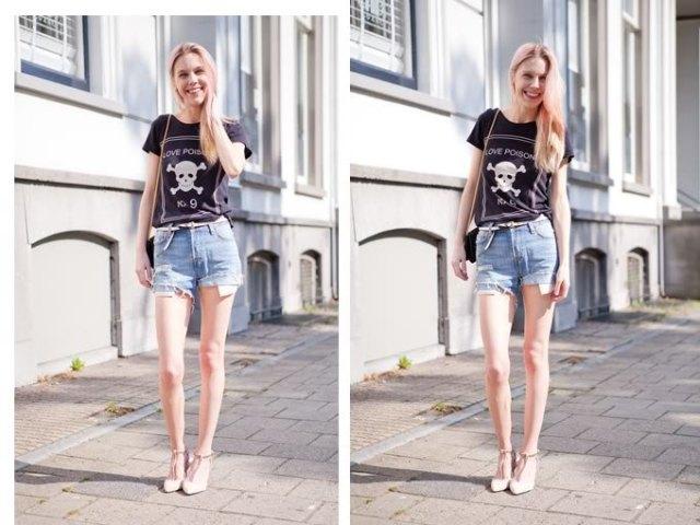 svart tryckt T-shirt med ljusblå jeansshorts