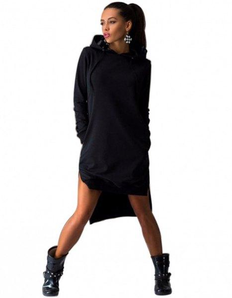 svart hoodie klänning med läder ankel stövlar