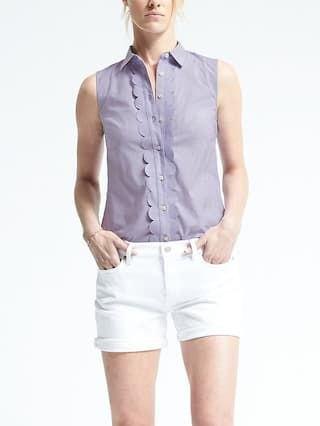 ärmlös kricka skjorta med vita, smala jeansshorts
