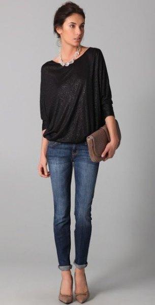 svarta skinny jeans med dolman ärmar