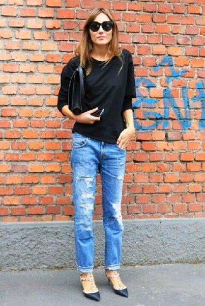 svart dolman ärm topp jeans pojkvän