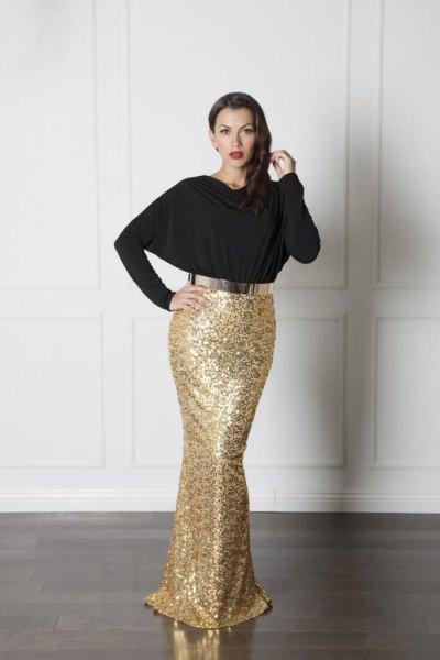 svart topp guld paljett sjöjungfru kjol