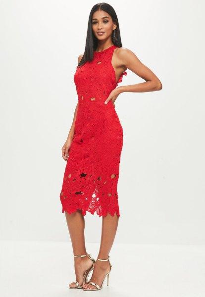 röd ärmlös slida klänning i midispets