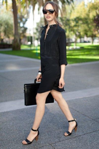 svart skjortklänning med klackar med öppen tå