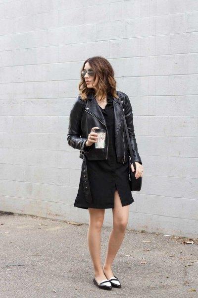 svart skjorta klänning läderjacka balettskor