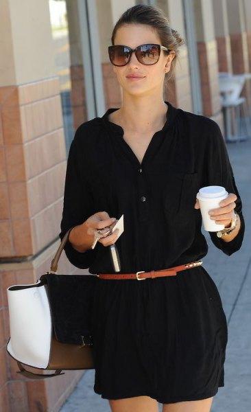 svart skjortklänning smalt brunt bälte