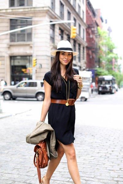 vit filthatt brun bälte svart skjortklänning