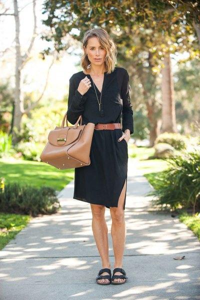 svart skjorta klänning brett brunt bälte