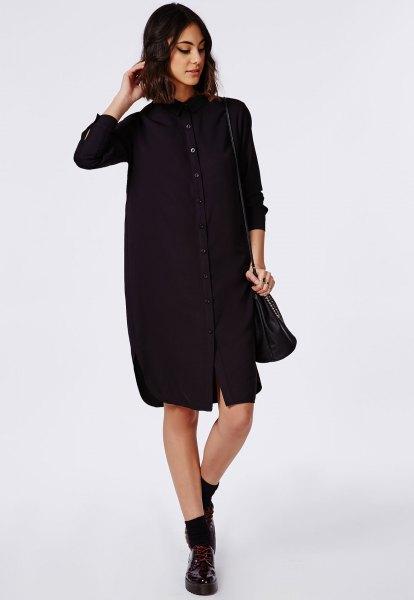 svart skjorta klänning crew strumpor oxford skor