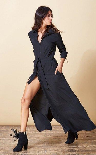svart maxi high split skjortklänning