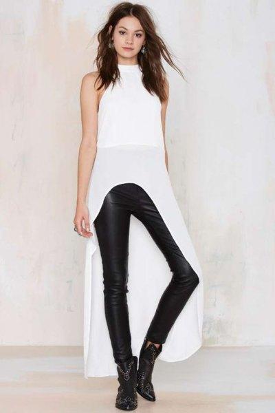 vita maxi höga läder byxor i läder med hög hals