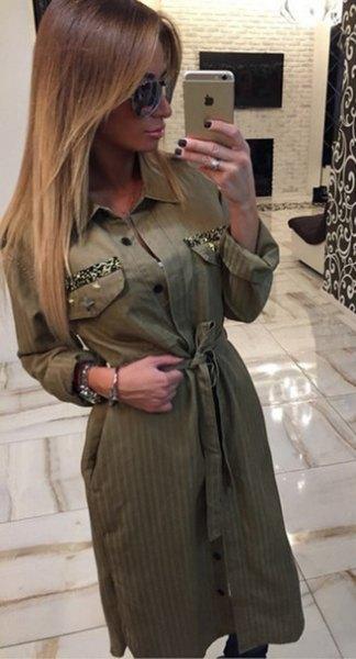 grön khaki klänning med midjeknapp