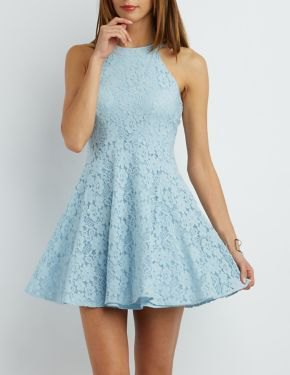 Sky Blue Fit och Flare Halter kort klänning