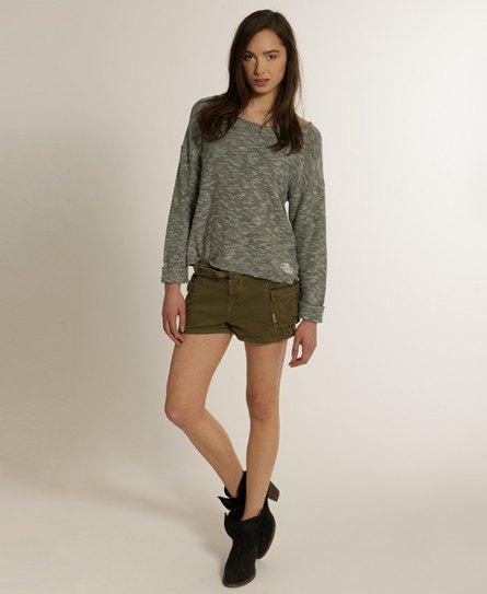grå ljung bekväm tröja khaki last mini shorts