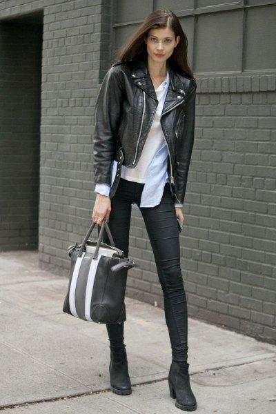 svarta ankelstövlar läderjacka outfit