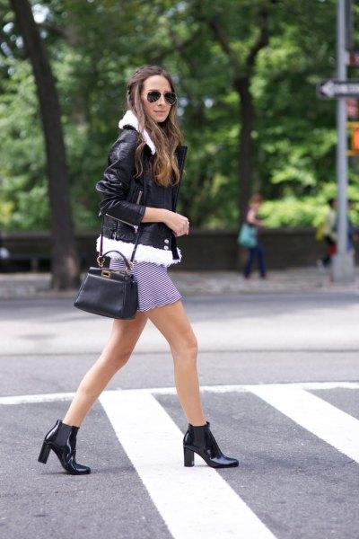 svartvita randiga skiftklänningar i läder