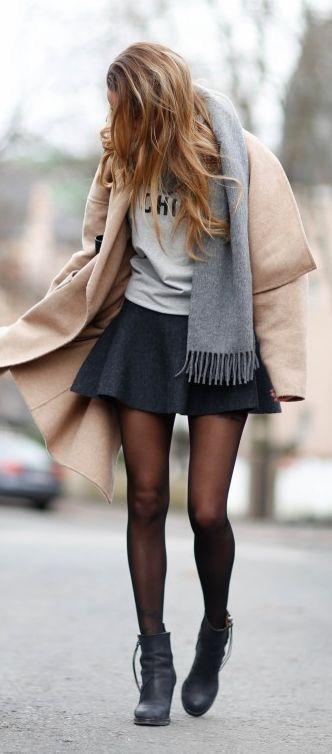 svart skater kjol kamelgrå
